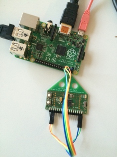Detail of the serial connection between the sniffer device and the raspberry Pi