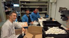 Ioannis, Joost and I assembling more than 1000 bracelets at Salland Electronics